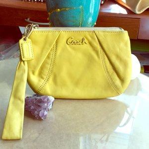 Coach Poppy yellow leather wristlet!